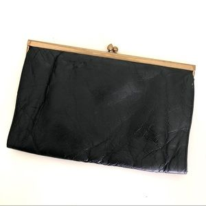 Vintage Leather Kiss Lock Clutch Purse